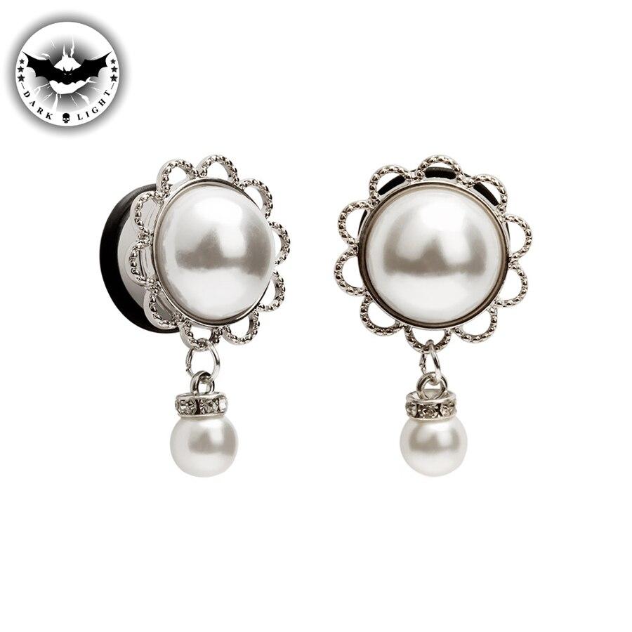 Dark Light 1 Pair Stainless Steel Flesh Tunnels  Ear Plugs Faux pearl  Pendant Gauges Body  Piercing Jewelry Ear Reamer 6-16mm Пирсинг ушей