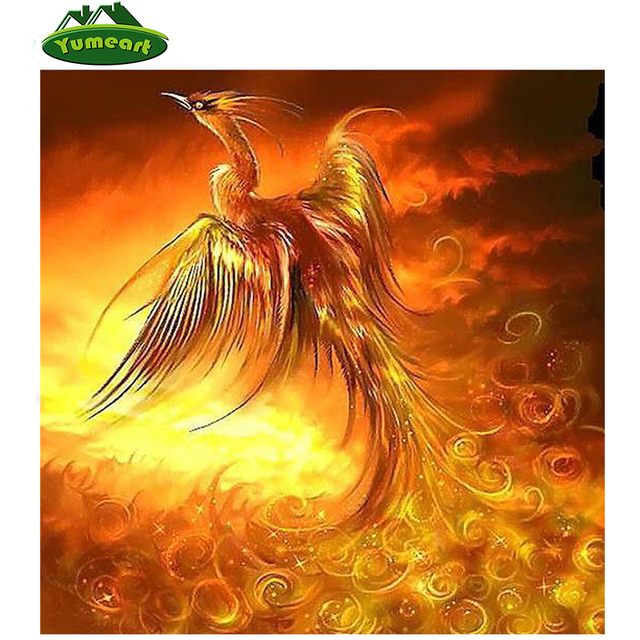 new diy 5d diamond painting cross stitch red phoenix bird drawings