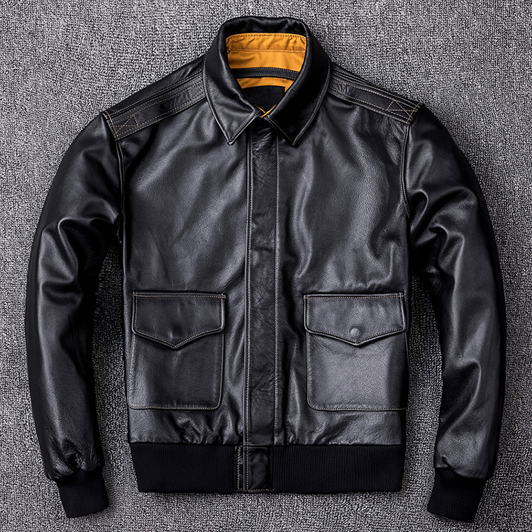 HTB1lWvTXffsK1RjSszbq6AqBXXaU MAPLESTEED Men Leather Jacket Military Pilot Jackets Air Force Flight A2 Jacket Black Brown 100% Calf Skin Coat Autumn 4XL M154