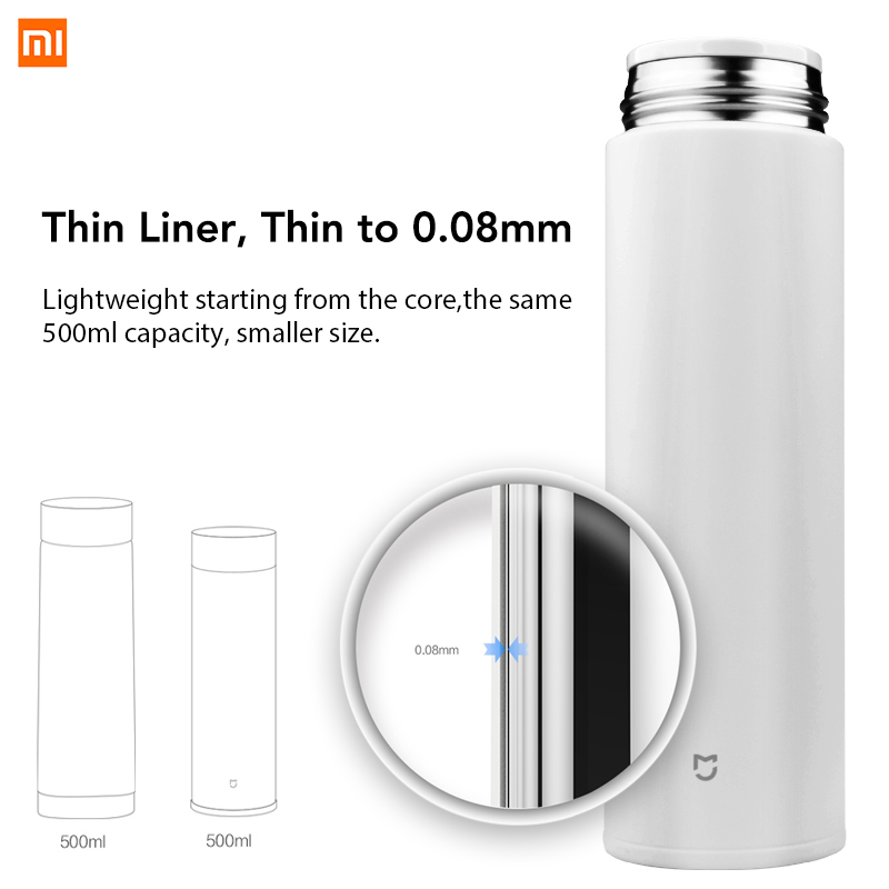 Xiaomi Mijia Vacuum Cups 12 Hours Hot 316L Stainless Steel Insulated Mug Drink Beverage Bottle 500ML 17oz in Smart Remote Control from Consumer Electronics