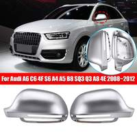 2X Car Mirror Cover Matte Chrome Rearview Mirror Cover Protection Cap for Audi A6 C6 4F S6 A4 A5 B8 SQ3 Q3 A8 4E 2008~2012