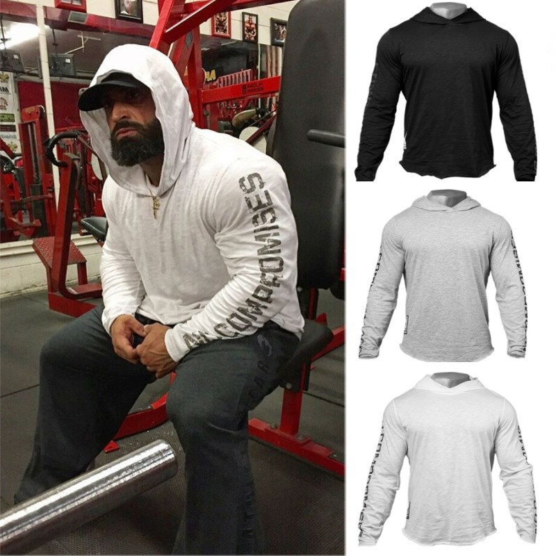 Muscle Building Exercise Fitness Thin Long Sleeve Men's Sweatershirts Whit Hoodies Tights Stretch Large Size