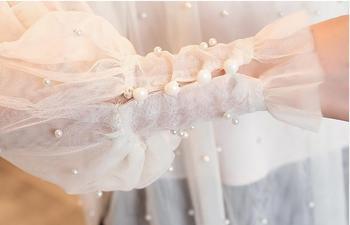 Plus Size 2XL Women Top lantern Sleeve Autumn Spring Blouse Beading Elegant Blouse Chiffon Pearl Shirt 6