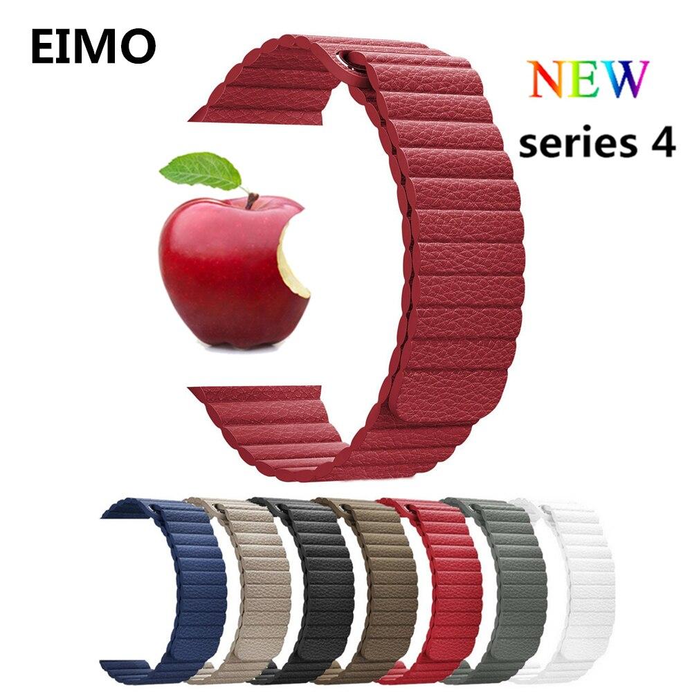 EIMO Leder Schleife strap Für Apple uhr bands 4 44mm 40mm iwatch 3/2/1 42mm 38mm armband armband Magnetische Verschluss handgelenk gürtel