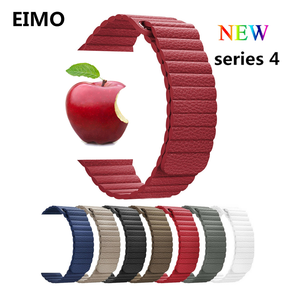 Leather loop strap For apple watch band 4 44mm 40mm iWatch 4/3/2/1 42mm/38mm bracelet watchband Magnetic Closure wrist belt цена