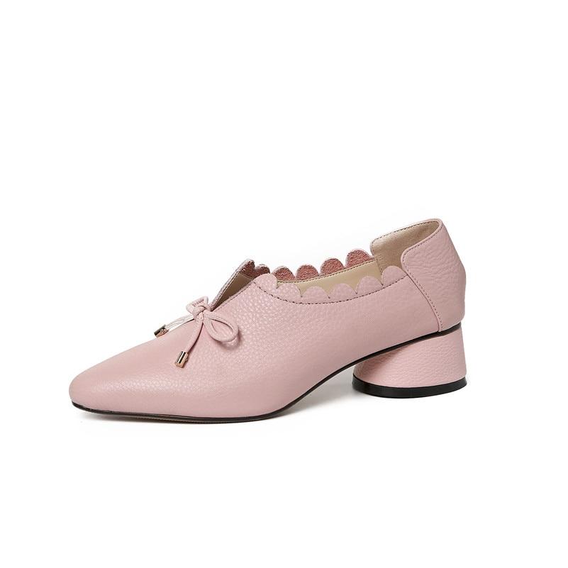 FEDONAS أزياء النساء جلد طبيعي الربيع مضخات سميكة عالية الكعب جولة تو مريحة أحذية الزفاف امرأة بووتي حزب مضخة-في أحذية نسائية من أحذية على  مجموعة 2