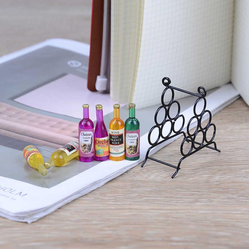 6 stuks Mini DIY Keuken Kamer Zwart + 1pc Wijn Fles Voor Miniaturen Poppenhuis 1:12 Poppenhuis Accessoires meubels Model Miniatuur