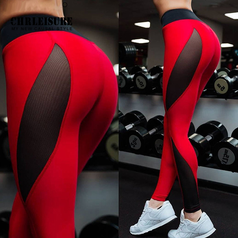 CHRLEISURE Sexy Mesh Patchwork Women's Leggings Polyester Red Black Ankle-Length Jeggings Push Up Workout Lady's Legging 2018