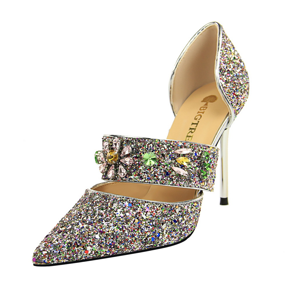 Women high heels Bling sequined cloth Sandals poninted toe 10CM thin heel crystal flower Glitter pumps Dance club Sexy shoes