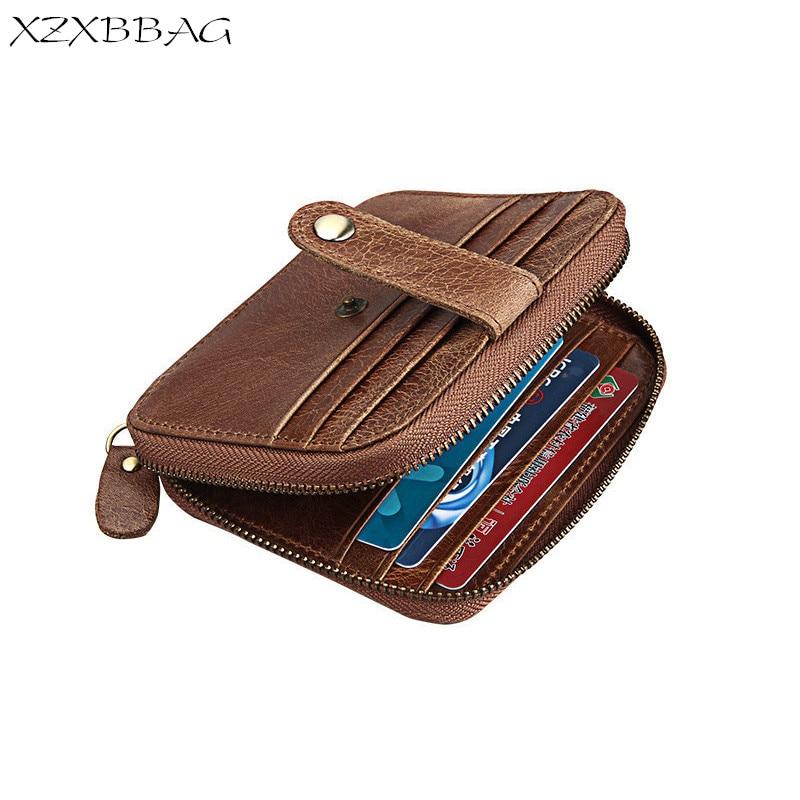 XZXBBAG Genuine Cowhide Coin Purse Men Retro Zipper Hasp Pouch Male Change Purse Money Bag Mini Card Bag Zero wallet RFID стоимость