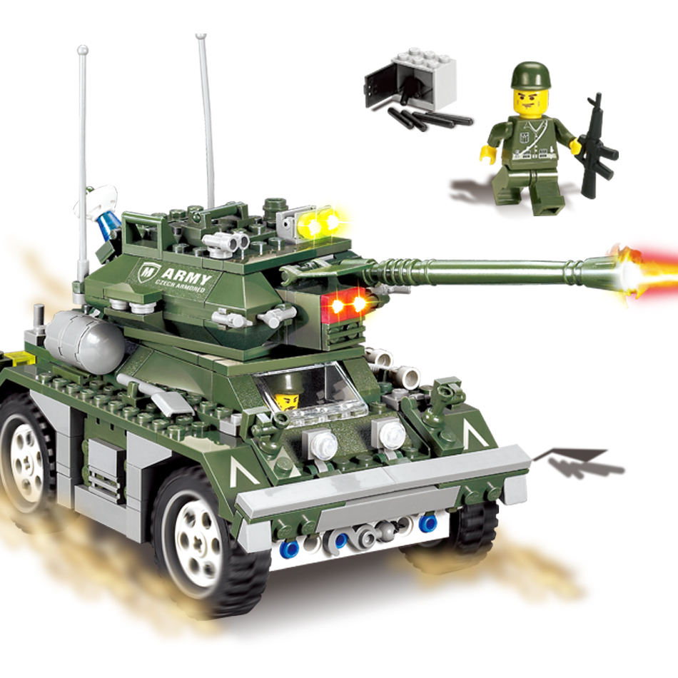 KAZI 351PCS Military Building Blocks Bricks Army Cars Truck Soldier Figures Compatible Legoe Weapon Gifts Toys For Children Kids kazi 608pcs pirates armada flagship building blocks brinquedos caribbean warship sets the black pearl compatible with bricks