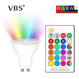 Image 1 - 4Pcs GU10 Rgb Lampen Bombillas Led 8W GU10 Rgbw Rgbww Led Lamp Dimbaar Wit Warm Wit Gu 10 led Lamp 16 Kleuren Met Afstandsbediening