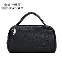 FEIDIKABOLO Luxury Men Genuine Leather Purse Double Zipper Cowhide Leather Wallet Men's Handy Bags Portable Male Purses Carteira