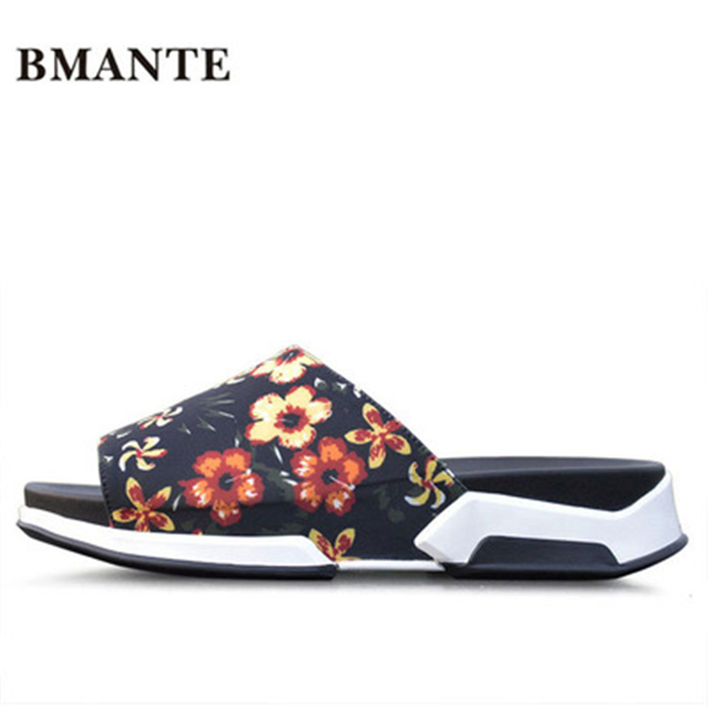 Luxury Slippers Summer Men Shoes Print Rome Leisure Flat Men Slippers Flower Sandals Spring New Men Fashion Beach Casual Sandal flower print flat sliders