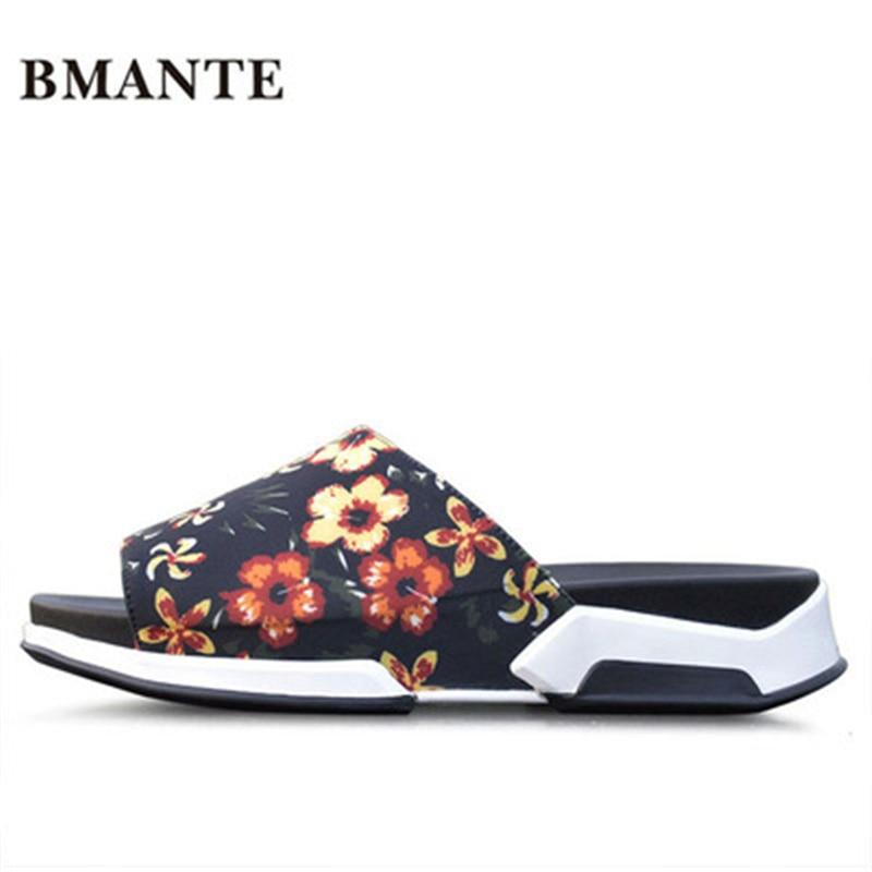 Luxury Slippers Summer Men Shoes Print Rome Leisure Flat Men Slippers Flower Sandals Spring New Men Fashion Beach Casual Sandal