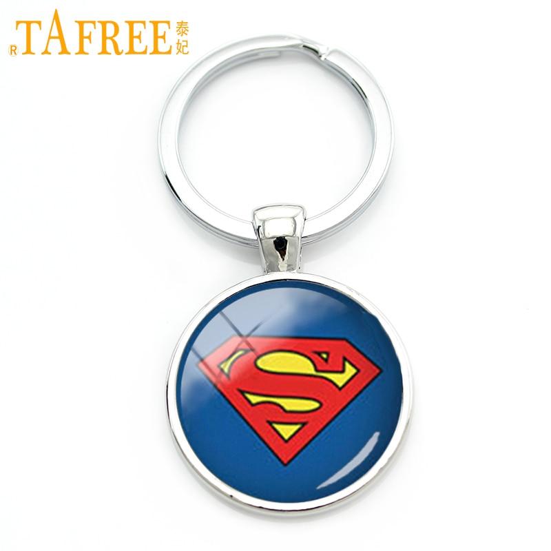 TAFREE Trendy Cool Boy Gift Personalized Superhero Key Chain Handmade Glass Dome Alloy Keychain Men Accessories Jewelry KC 125