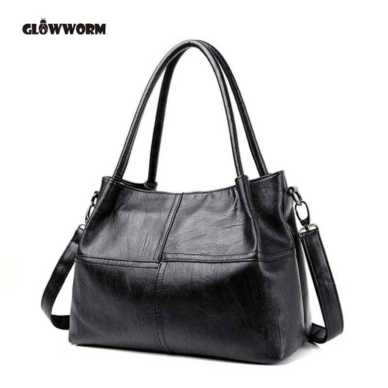 7577a524078b Купить 2018 Новая модная женская сумка из натуральной кожи черная кожаная  сумка тоут Bolsas femininas Женская сумка на плечо Продажа Дешево .
