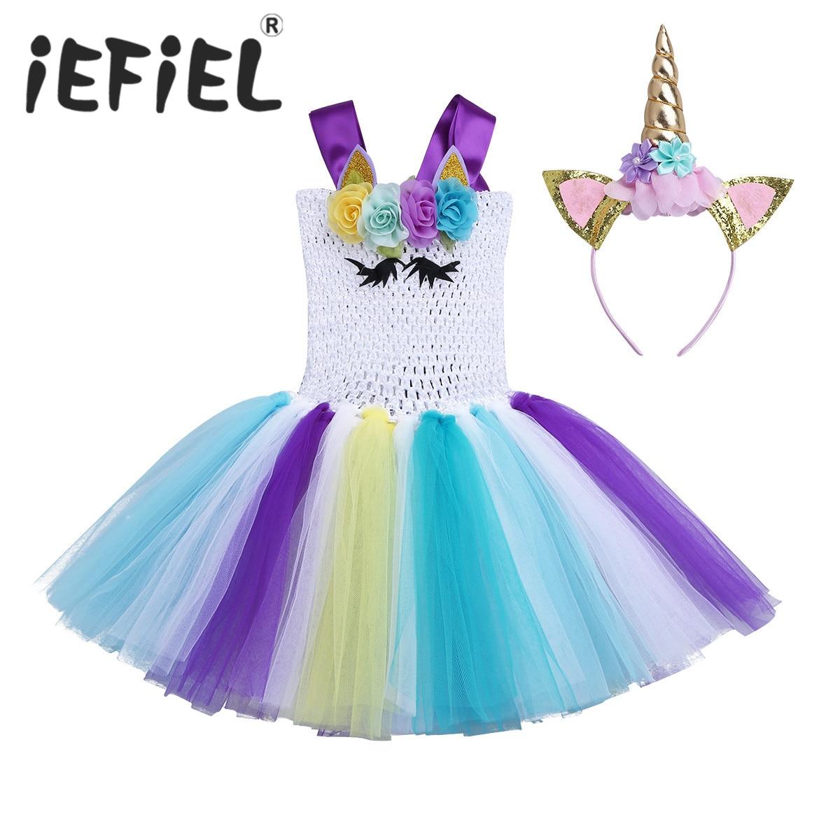 Kids Children Girls Tutu Dress Princess Kids Birthday Party Cosplay Dress Girls Christmas Halloween Fancy Dress Up Costumes
