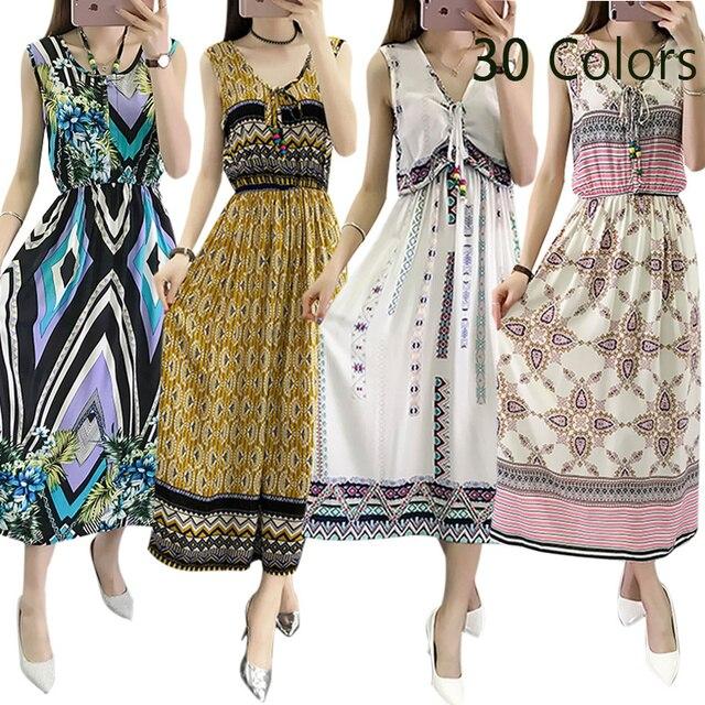 d75f05f4a4aa2 Vintage Women Summer Bohemian Dress Beach Boho Elegant Printed Dresses 2018  New Fashion Flower Loose Plus Size Sleeveless Dress -in Dresses from ...