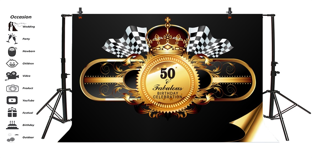 Laeacco Crown Pattern Flag 50th Birthday Party Photography Backdrops Customized Photographic Backgrounds For Photo Studio in Background from Consumer Electronics