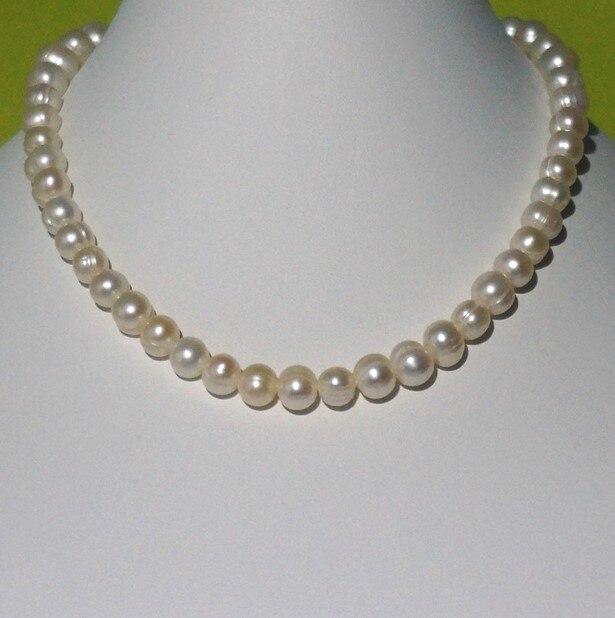 Mariage éternel femmes cadeau mot 925 argent Sterling véritable collier de perles d'eau douce naturelle avec fil, 8-9mm, noeud de perle, blanc