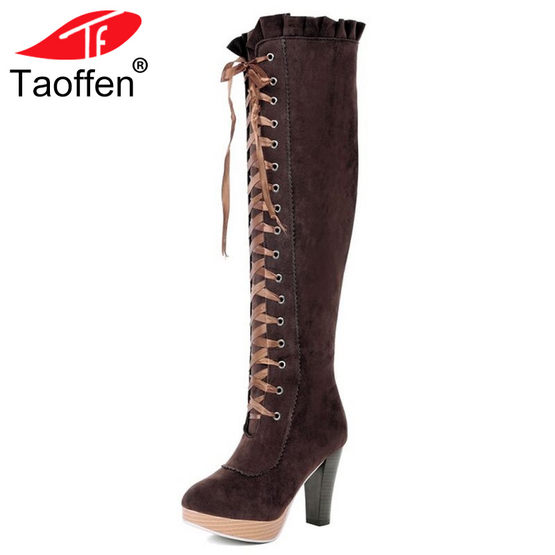 women high heel over knee boots ladies fashion long snow boot warm winter botas heels footwear shoes P2415 size 34-45 стоимость
