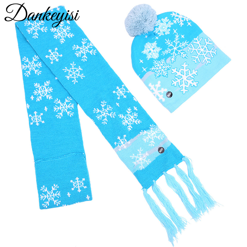 DANKEYISI Women Men Knitted Scarf And Hat Set Girls Scarfs Children Winter Set For Children Scarf Hat Set Girls Boys
