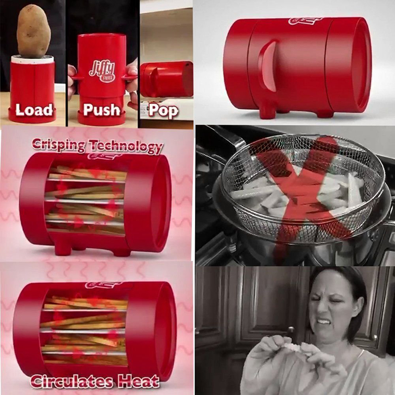 Jiffy Fries Potatoes Maker Potato slicers French Fries Maker French Fries Cutter Machine & Microwave Container 2-in-1