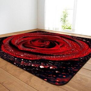 Image 4 - 11 rodzajów kwiaty duże dywany romantyczna róża duży Parlor mata miękka flanelowa dywaniki słonecznika domu dekoracyjne do salonu sypialni