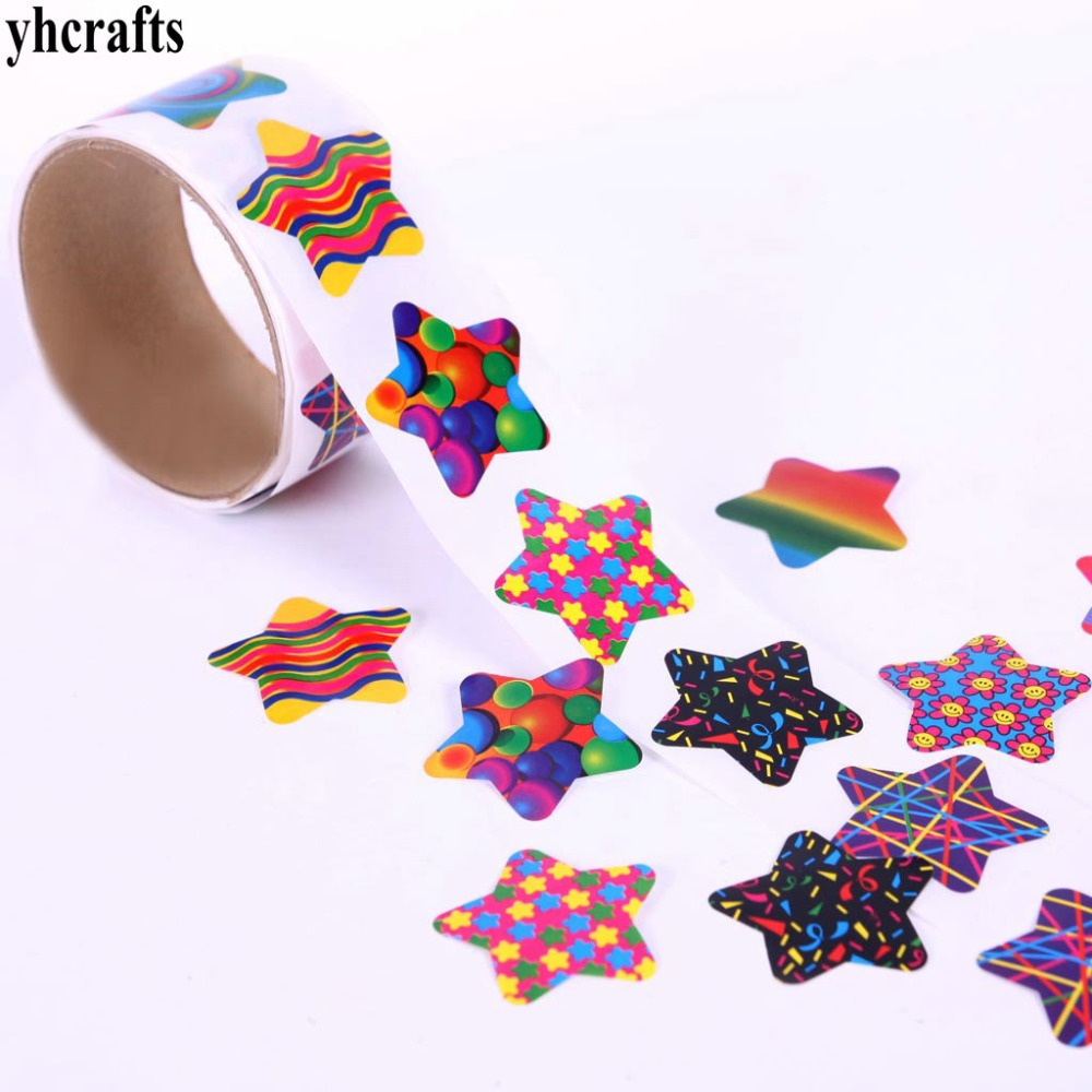 1 Roll(100pcs)/lot.outlet Laser Star Paper Sticker Wall Fridge Stickers Kids Room Ornament Kindergarten Crafts Wedding Decal Oem
