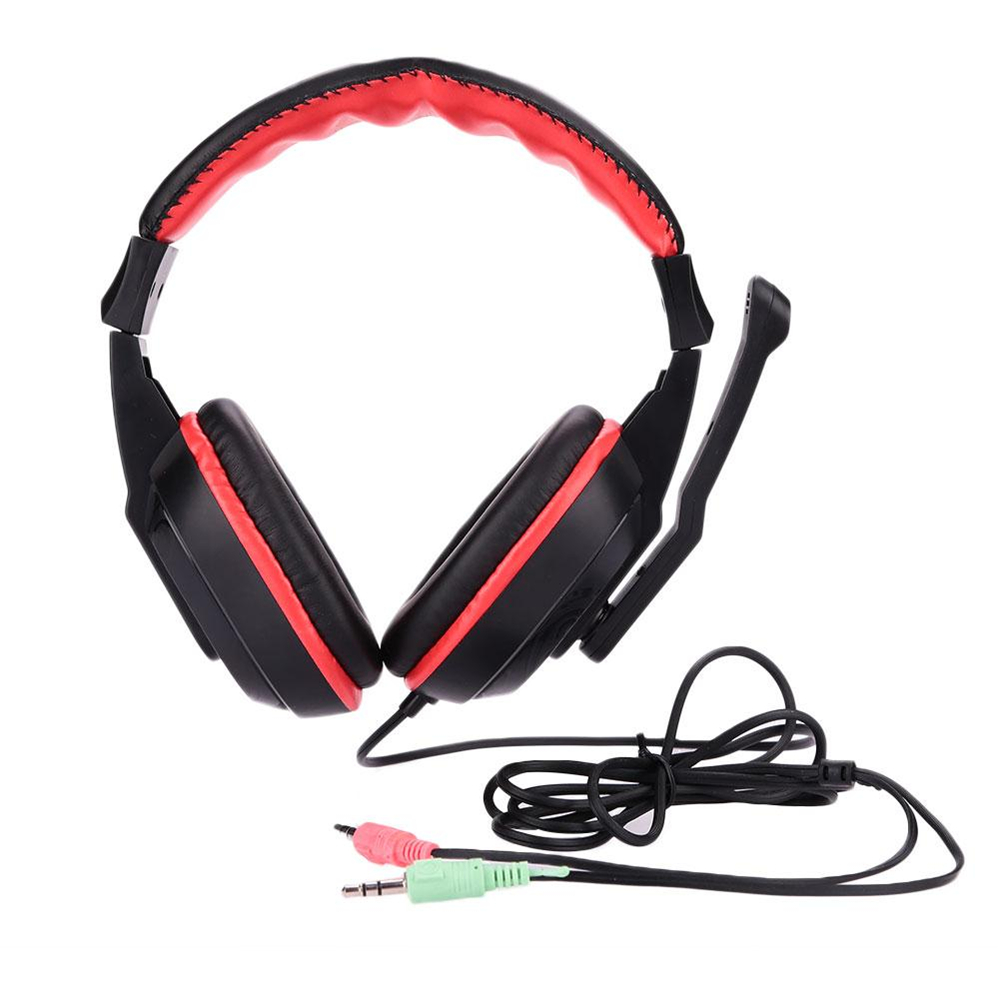 3.5mm HiFi Stereo Headphones Surround Sound Headset Earphone with Mic PC Computer Laptop Gaming Microphone Black Red aiyima headphones gaming headset 3 5mm foldable sport earphone audifonos hifi stereo sound music portable earphone
