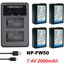 2000mAh NP FW50 bateria NP-FW50 Battery + LED Dual Charger for Sony Alpha a6500 a6300 a7 7R a7R II a7II NEX-3 NEX-5 Camera