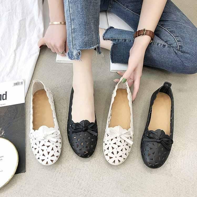 Frau Wohnungen Schuhe Frauen Casual Schmetterling Knoten Aushöhlen Sommer Schuhe Weibliche Spitz-toe Schuhe Zapatos Mujer