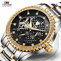 TEVISE Brand Luxury Luminous Skeleton Automatic Mechanical Men Watch Waterproof Stainless Steel Band Business Watch Moon