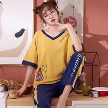 Summer Cotton Pajamas Set Women Sweet Cartoon Short sleeve Trousers Two piece Suit Fashion Home Clothes For Women  M L XL XXL