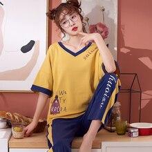 여름 코 튼 잠 옷 세트 여성 달콤한 만화 짧은 소매 바지 두 조각 양복 패션 홈 의류 여성 m l xl xxl