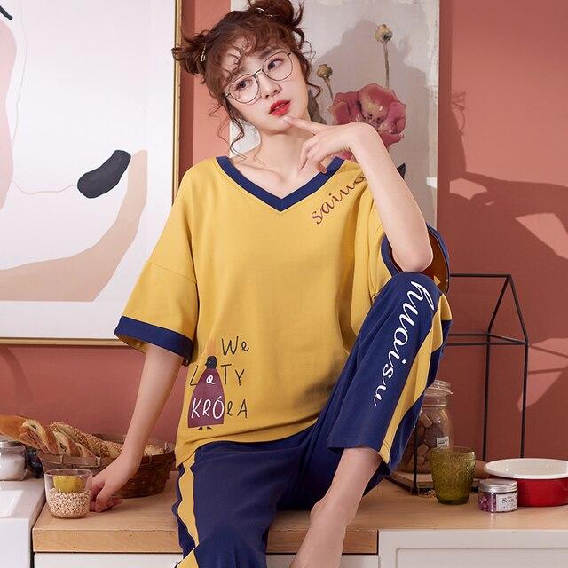 Été coton ensemble de pyjamas femmes doux dessin animé à manches courtes pantalon deux pièces costume mode maison vêtements pour femmes M L XL XXL