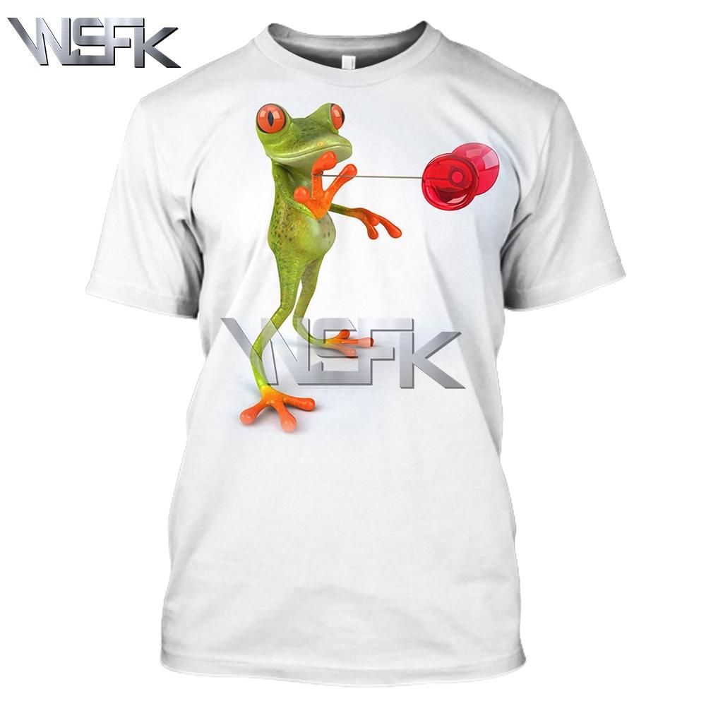 WSFK men and women 3D red eye tree frog print T-shirt summer round neck casual off white sweatshirt short sleeve