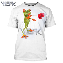 WSFK men and women 3D red eye tree frog print T-shirt summer round neck casual off white sweatshirt men and women short sleeve round neck letters and wings print long sleeve men s sweatshirt
