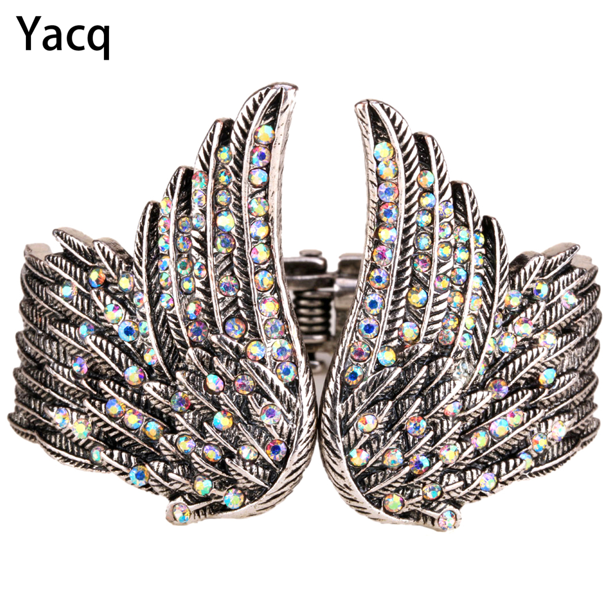 YACQ Angel Wing Bangle Armband Damer Biker Crystal Fashion Smycken Antik Guld Silver Färggåvor Hennes mamma Dropshipping D01