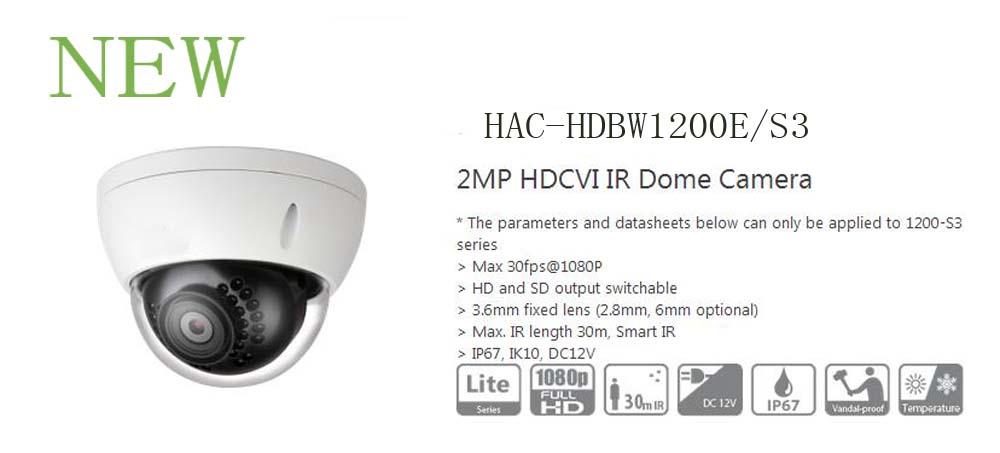 ФОТО Free Shipping DAHUA CCTV Outdoor Camera 2MP HDCVI IR Dome Camera Smart IR Without Logo HAC-HDBW1200E/S3