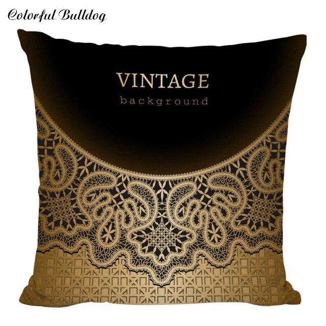 Us 2 99 Qualitat Vintage Stilvolle Dekorative Schwarze Gold Kissen Abdeckt Dekokissen Sofa Sitz Auto Retro Cojines Abdeckrahmen Mode In Qualitat