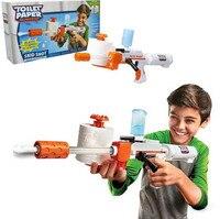 Забавный DIY пластиковый пистолет Модель Spitball шутер с туалетной бумагой патроны