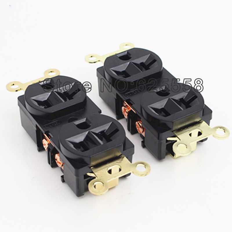 Hifi audio 2PCS High Quality Gold Plated AC US Power Duple Receptacles wall outlet Socket distributor стоимость
