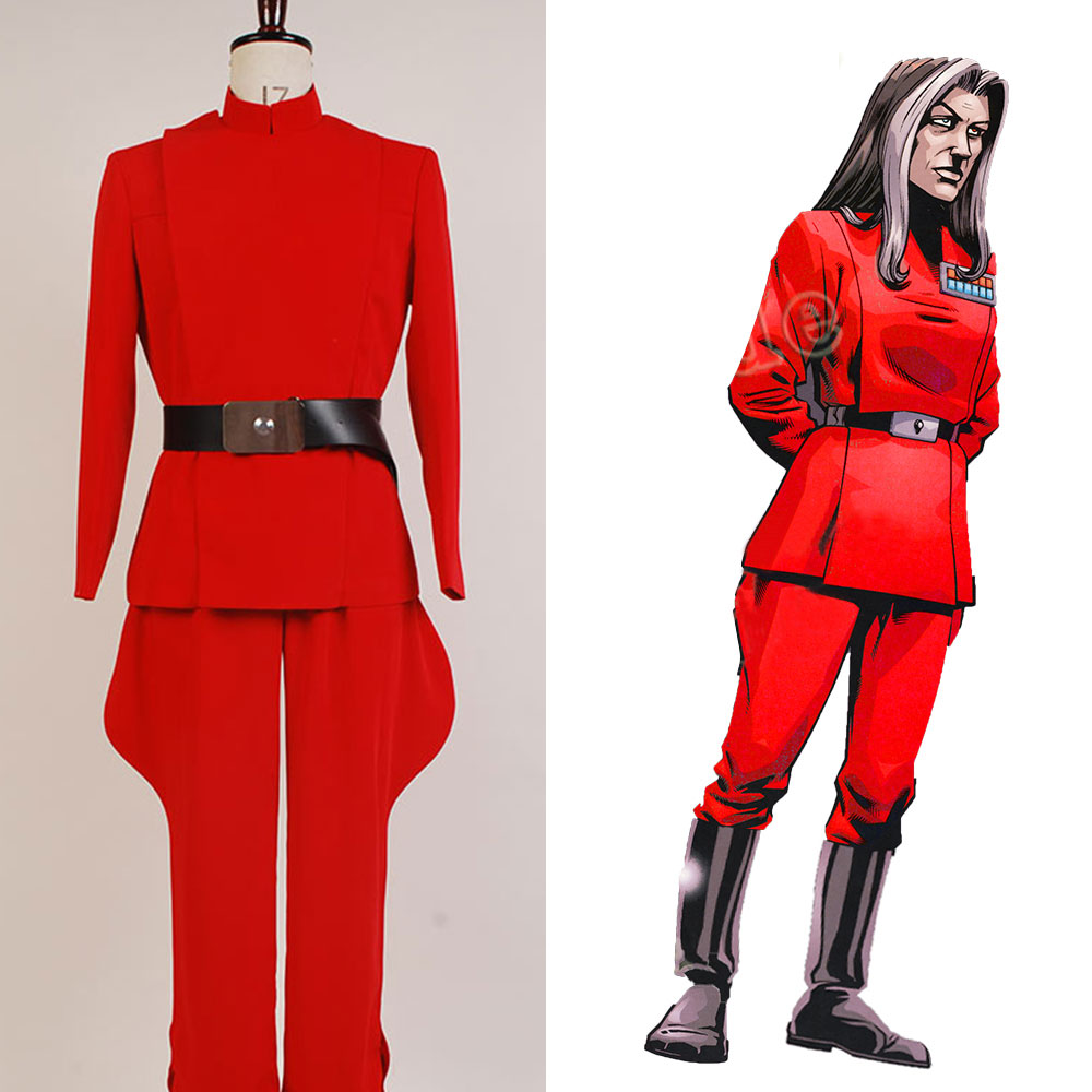 Star Wars Imperial Officer Ysanne Isard Cosplay Costume Outfit Suit Red Uniform full set