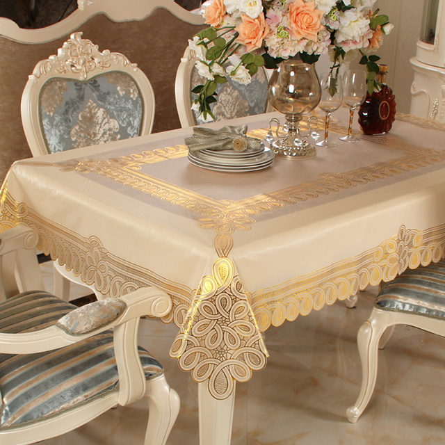 New Tablecloth Table Cloth Pvc Waterproof Plastic European Oil Proof Disposable Hot Deployment Rectangular