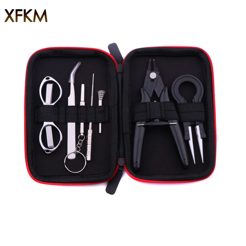 XFKM Mini Vape Tool Kit Bag Tweezers Pliers Wire Vape Band Coil Jig Cotton For X9 Electronic Cigarette Accessories
