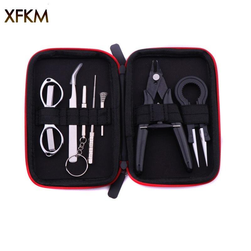 Xfkm mini kit de ferramentas vape saco pinças alicate fio vape banda bobina gabarito algodão para x9 cigarro eletrônico acessórios