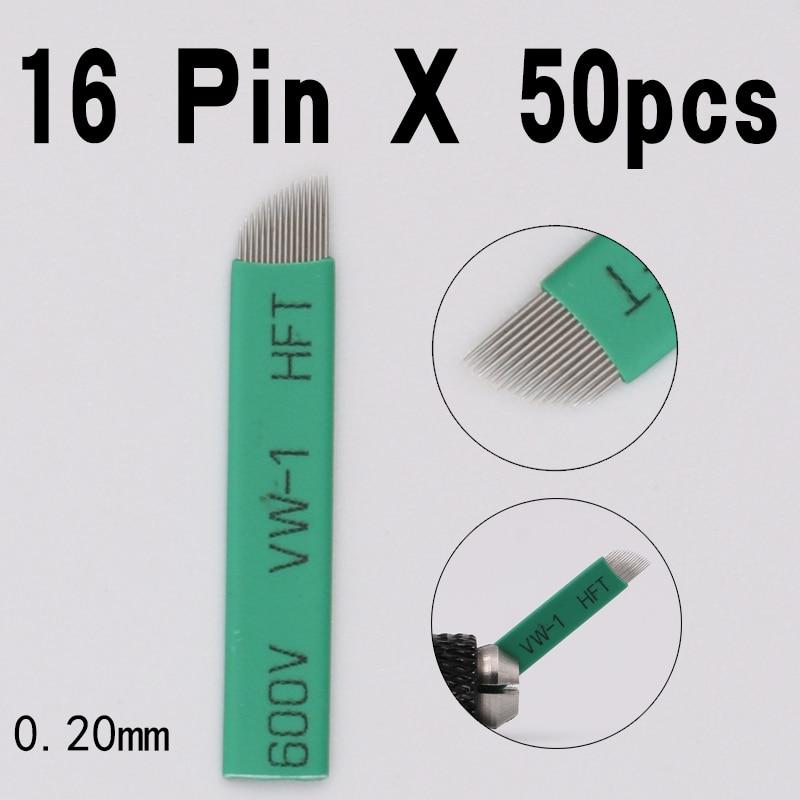 50pcs 16pin microblading needles blades 0.20mm diameter Lamina Agulha Sobrancelha Tebori Microblading 16 Pontas Flex brow tattoo
