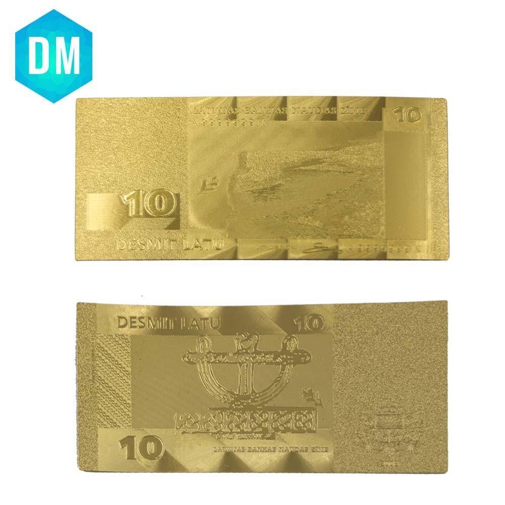 Latvia Replica Money 10 Lat Pure Metal Gold Banknote,Souvenir Banknotes Free Shipping 10pcs/lot
